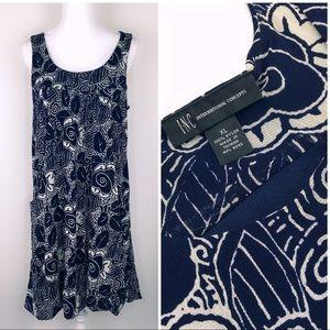 INC International Concepts Blue/Black Shift Dress